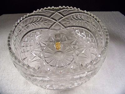 Imperlux Footed Bowl Hand Cut Lead Crystal Flower Vintage from West Germany