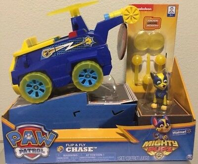 PAW PATROL--CHASE FLIP and FLY MIGHTY PUPS TRANSFORMING VEHICLE / IN HAND NOW!!