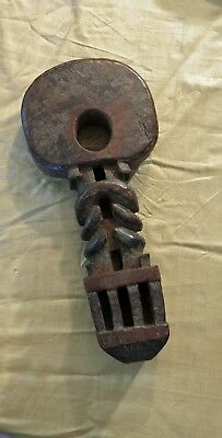 Antique Carved Hardwood Ghurra, Used in Nepal and Ladakh for Churning Ghee