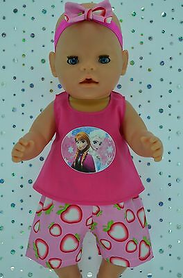 "Play n Wear Doll Clothes To Fit 17"" Baby Born STRAWBERRY PANTS~TOP~HEADBAND"