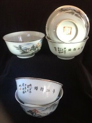 Antique Chinese Bowls Art & Caligraphy HISTORICAL SALVAGE Lots Of Damage -AS IS