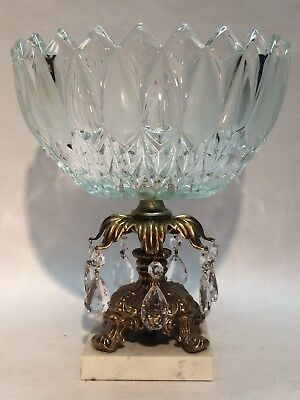 Vintage Hand Blown Czech Crystal Fruit Bowl Brass Pedestal Italian Marble Base