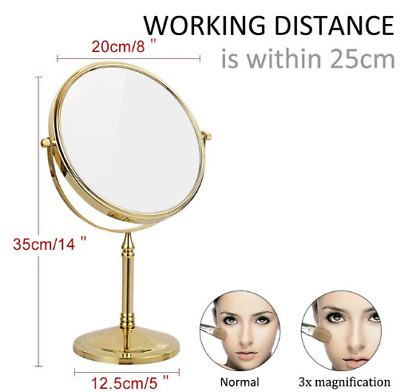 "8"" Gold Make Up Cosmetic Mirror Bathroom Shaving Double-Side Mirror 3xMagnifying"