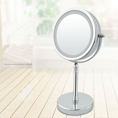 Dual Sided LED Makeup Mirror 360 Degree Rotating 7 Inch 10x Magnification
