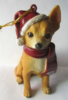 Chihuahua Wearing Santa's Hat and Red Scarf Snowflake Resin Dog Ornament