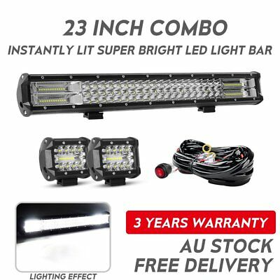 Tri-row 23inch Philips LED Light Bar Flood Combo Offroad Driving Work Truck 4''