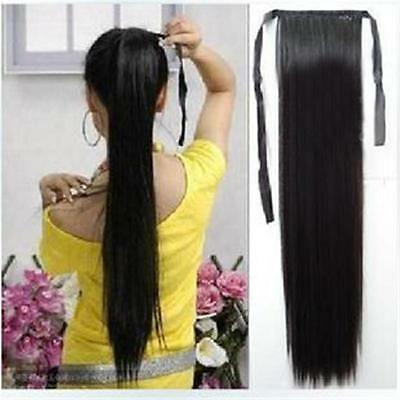 Long&Straight Ribbon Ponytail Clip In Synthetic Wrap Hair Extension Hairpieces O