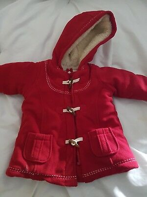 Girls * Mothercare * Red Fluffy Lined Duffle Coat - 9-12 Months Vgc
