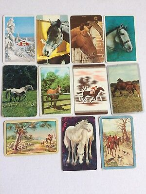 Mixed Lot of 11 X Vintage Swap / Playing Cards - Horses