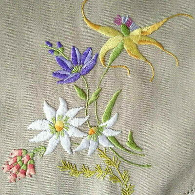 Native Australian WildFlowers~Heath/Orchid/Flannel ~Hand Embroidered Centrepiece