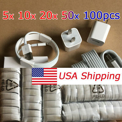 OEM Lightning USB Cable Charger For Original iPhone 8 7 6 Plus 5 Cable cord lot