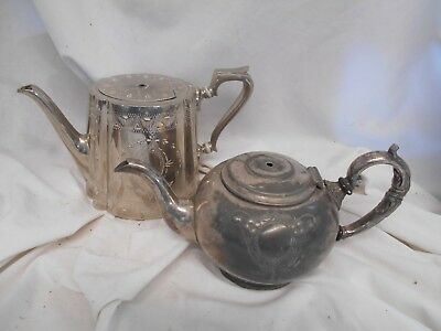 Pair of ANTIQUE Silver Plated TEAPOTS Tea Pots Victorian 19th Century 27cms