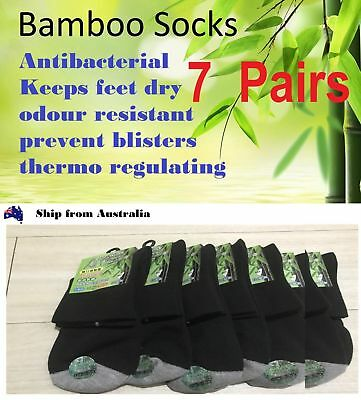7 Pairs Mens Thick Bamboo Work Socks (Black) Size6-10 *Made in Taiwan