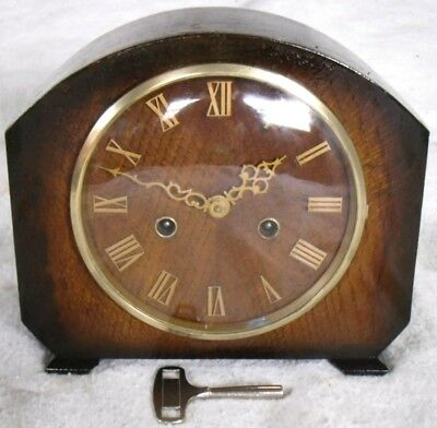 Vintage 1940-50s Smiths Clock Co: Hamilton Wooden Chiming Mantel Clock,Restored