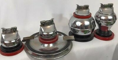 Collection Of 4 ART DECO EVANS Trig-a-Lite Table Lighters - Red & Black Catalin