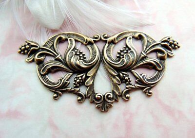 ANTIQUE BRASS Large Victorian Floral Focal Flower Stamping ~ Oxidized (FA-6106)