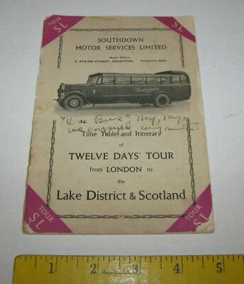 1938 Southdown Motor Services Limited London Tour Brochure Trip Diary