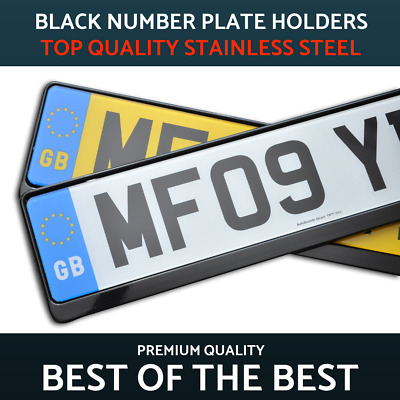 2 x Luxury Black Stainless Steel Number Plate Holder Surround Frame Audi