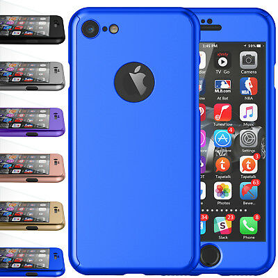 For iPhone 7 Tempered Glass Screen Protector 360 Full Body Slim Hard Case Cover