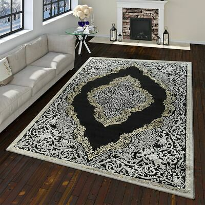 Modern Oriental Rug Vintage Look With Classic Ornaments Black Grey Gold