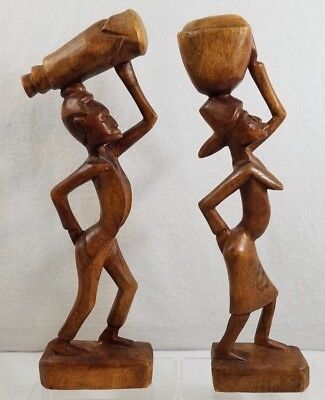 PAIR (2) Wooden Hand Carved Woman & Man Carrying Bowl On Head Statue Figure