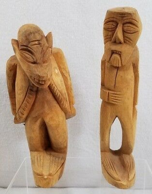PAIR (2) Wooden Hand Carved Statues Figures, Made in Mexico