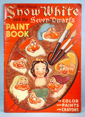 1938 Snow White & the Seven Dwarfs Oversized Paint Coloring Book Walt Disney Ent