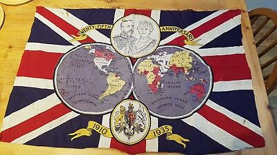 Vintage Flag Commemorating the 25th Anniversary of King George V and Queen Mary