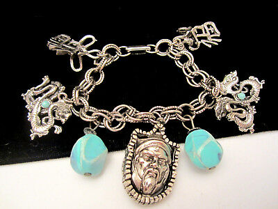 "Rare Vintage Signed HAR 7"" Silvertone Asian Dragon Dangle Charm Bracelet A48"