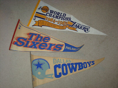Lot Of 3 Pennants Los Angeles Lakers Dallas Cowboys Philadelphia Sixers Rare Old