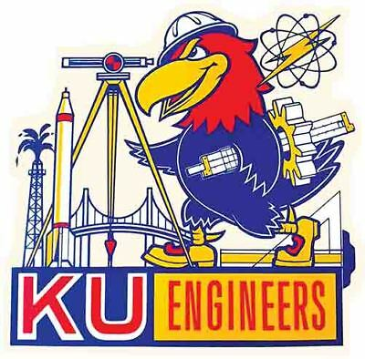 Jayhawks University Kansas Engineers  Vintage Looking Travel Decal Label Sticker