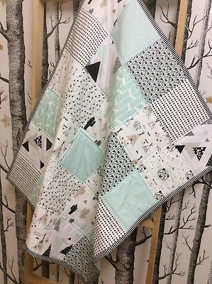 Woodland Adventure Bears Teepee Mint Baby Cot Quilt Mountain Cotton Backing