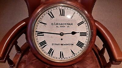 12in fusee dial school clock. ..marked  D.i.Shackman...