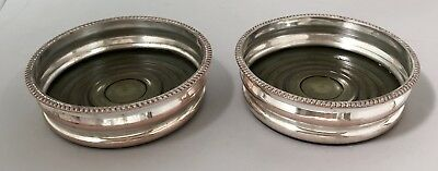 Antique silver plate on copper pair 2 wine bottle coasters turned wood gadrooned