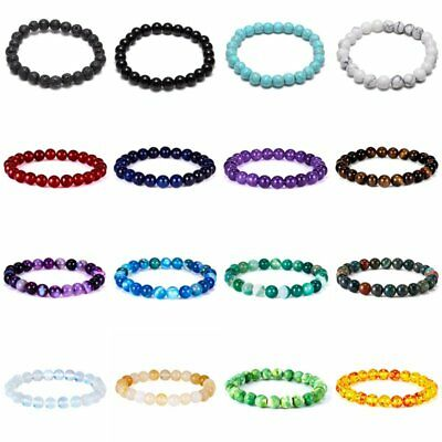 8mm Handmade Mixed Natural Gemstone Round Beaded Stretchy Bracelet Healing Reiki