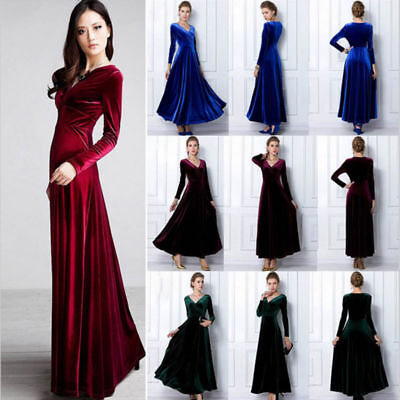 V Sleeve Size Party Elegant Plus Evening Dress Long Neck Womens Maxi Velvet