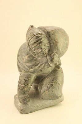 Tivi Illisituk Sugluk Inuit Soapstone Man & Walrus Carved Eskimo Art Sculpture