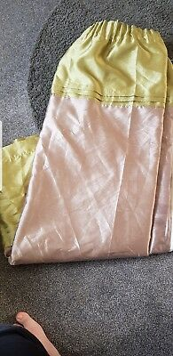Brown And Green Silk Look Curtains Good Condition