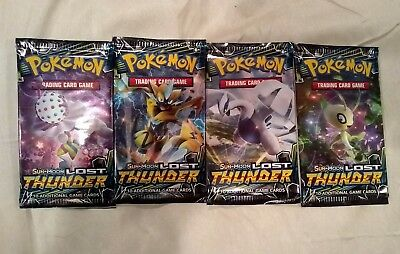 4 x Pokemon Lost Thunder Booster Packs - Factory Sealed(40 Cards)