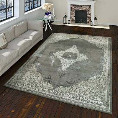 Orient Rug Modern Baroque Pattern With 3D Effect Used Look Mottled In Grey White