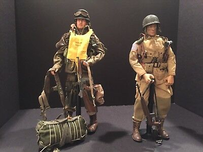 DRAGON & 21st CENTURY 1/6 SCALE 'KITBASHED' WWII U.S. AIRBORNE FIGURES PREOWNED!