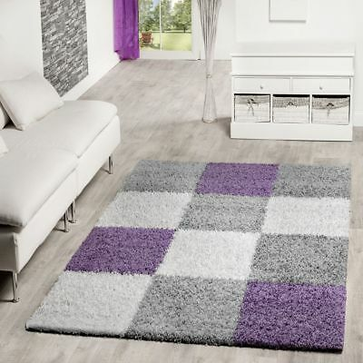 Modern Deep Pile Rug Checked Pattern Shaggy Shag Rugs Purple Grey Cream
