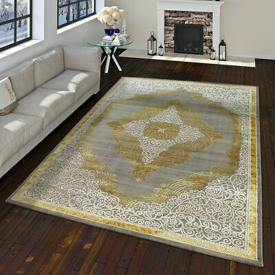 Orient Rug Modern Baroque Pattern With 3D Effect Used Look Mottled In Gold Grey