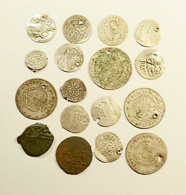 Lot Of 17 Ancient Silver / Silver Plated/ Copper Ottoman Islamic Turkey Coins 03