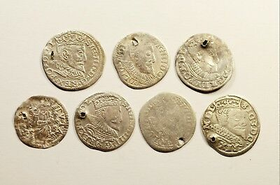Poland - Lot Of 7 Medieval Silver Coins - Cleaned