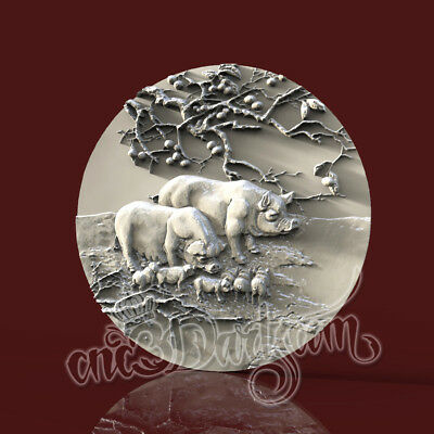 3D Model STL for CNC Router Artcam Aspire Pig Animals Round Panel Cut3D Vcarve