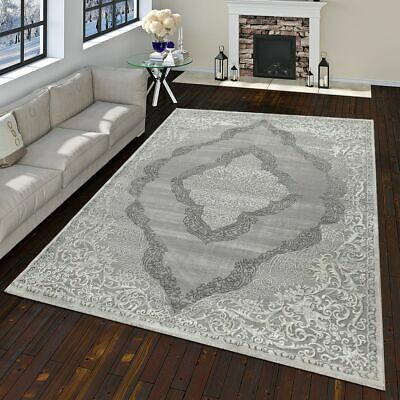 Modern Oriental Rug Vintage Look With Classic Ornaments In White Grey