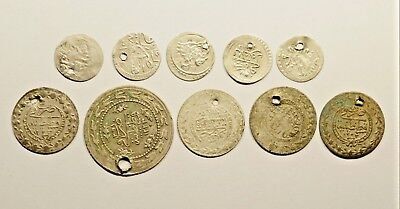 Lot Of 10 Ancient Silver / Silver Plated Ottoman Islamic Turkey Coins - 004