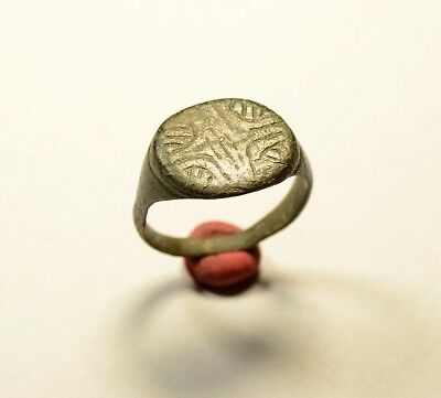 Roman Bronze Ring With Decorated Bezel - Wearable Artifact
