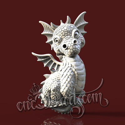 3D Model STL for CNC Router Artcam Aspire Little Dragon Jewels Cut3D Vcarve
